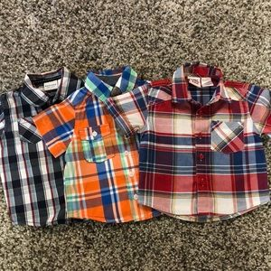 Other - 3 Short Sleeve Plaid Button Up Shirts 12 M